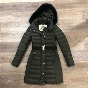 Burberry Olive Green Long Down Winter Jacket